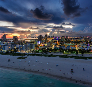Miami beach at dusk